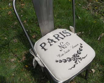 Custom Chair Cushion - 2 inch foam - Made to fit your Chair - Paris No 13 - French, hand stenciled, knife edge, chair pad - 22 L X 22 W.