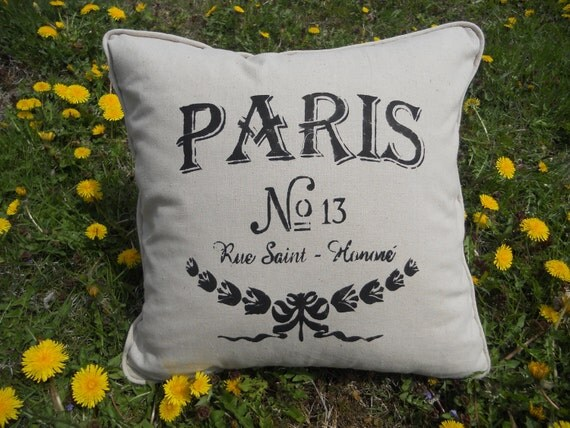 Paris Pillow - French Script, hand stenciled pillow ;- 18 X 18 - contains pillow insert