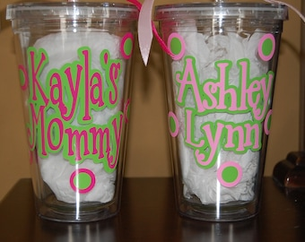 20oz Vinyl Personalized tumbler travel insulated straw cup mug double wall BPA free straw cup discount for orders of 4 or more