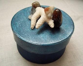 Coastal Treasures - Paper Mache Trinket Box Adorned With Coral, Sea Pebbles & Tumbled Semi-Precious Stones