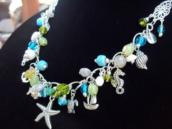 Nautical Charm - Sea Scape Necklace with Oceanic Beads and Charms