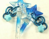 Hair Sticks Blue Stars and Blue Dangles. Kawaii Hair Accessory