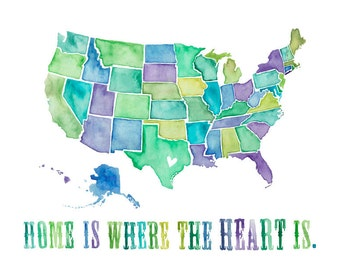 8.5x11 or 11x14 - Home is Where the Heart Is Print