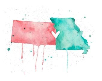 5x7 or 8.5x11 - Kansas and Missouri Love