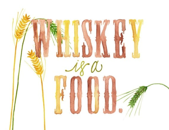5x7, 8x10 or 8.5x11 - Whiskey Is A Food Print