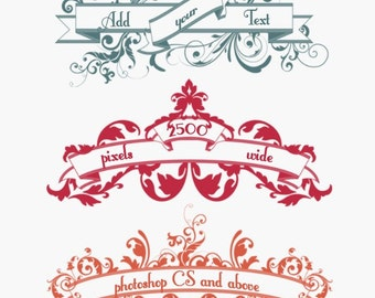 Banner Scroll Photoshop Brushes Floral Banners Photoshop Brushes - Commercial Use
