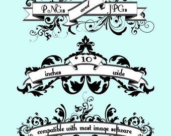 Banner Clip Art Clipart, Floral Banner Clip Art Clipart - Commercial and Personal