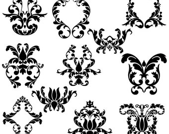 Damask Clip Art Clipart Damask Elements Clip Art Clipart - Commercial Use