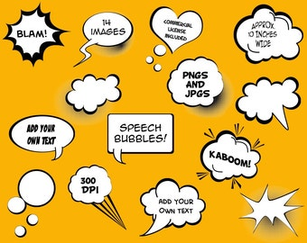 Speech Bubbles Clip Art Clipart - Commercial and Personal