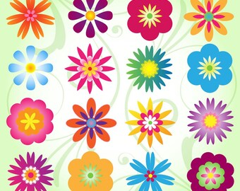 Flower Clip Art Clipart, Mod Flower Clip Art Clipart - Commercial and Personal