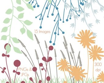 Flower Silhouettes Clip Art Clipart Flower Clip Art Clipart - Personal and Commercial Use