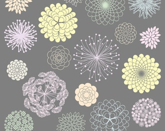 MEGA PACK Pastel Flower Silhouettes Clipart Clip Art, Flower Clipart Clip Art - Commercial and Personal Use