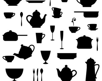 Kitchen Silhouettes Clipart Clip Art, Cooking Clipart Clip Art - Commercial and Personal Use