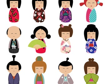 Kokeshi Clipart Clip Art, Momiji Clipart Clip Art- Commercial and Personal Use
