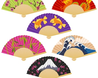 Japanese Fans Clipart Clip Art with Koi, Dragon, Bamboo, Cherry Blossoms and Mt Fuji - Commercial and Personal
