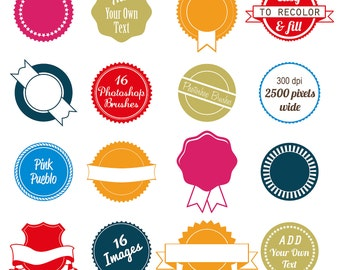 Badge Photoshop Brushes, Use as Stickers, Labels, or Tags - Commercial and Personal Use