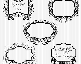 Frames Clipart Clip Art, Flourish Chandelier Frames Clipart Clip Art - Commercial and Personal Use