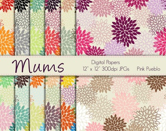Digital Papers Printable Papers Scrapbook Papers - Mum Flowers - Commercial and Personal Use
