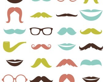 Mustache Photoshop Brushes with Glasses and Lips - Commercial and Personal Use