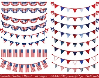 Patriotic Bunting Clipart Clip Art, Fourth of July Flag Clipart Clip Art - Commercial and Personal