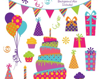 Party Clipart Clip Art, Birthday Cake Clipart Clip Art- Commercial and Personal Use