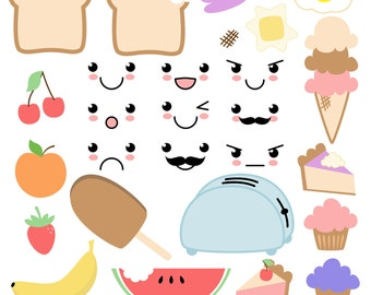 Kawaii Food Clipart Clip Art - Commercial and Personal Use