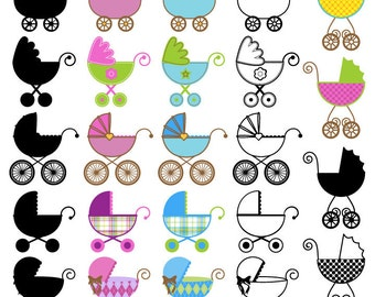 Baby Carriage Clipart Clip Art, Stroller Pram Clip Art Clipart - Commercial and Personal