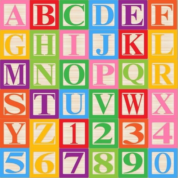 Baby Blocks Alphabet Font Clip Art Clipart - Commercial and Personal