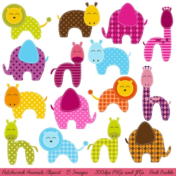 Patchwork Animals Clipart Clip Art, Zoo Animals Jungle Animals Clipart Clip Art - Commercial and Personal Use