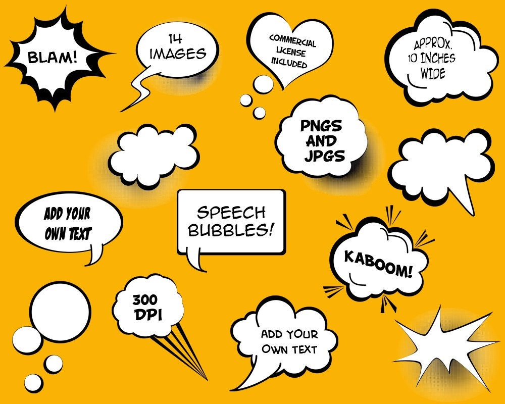 Speech Bubbles Clip Art Clipart Commercial And Personal
