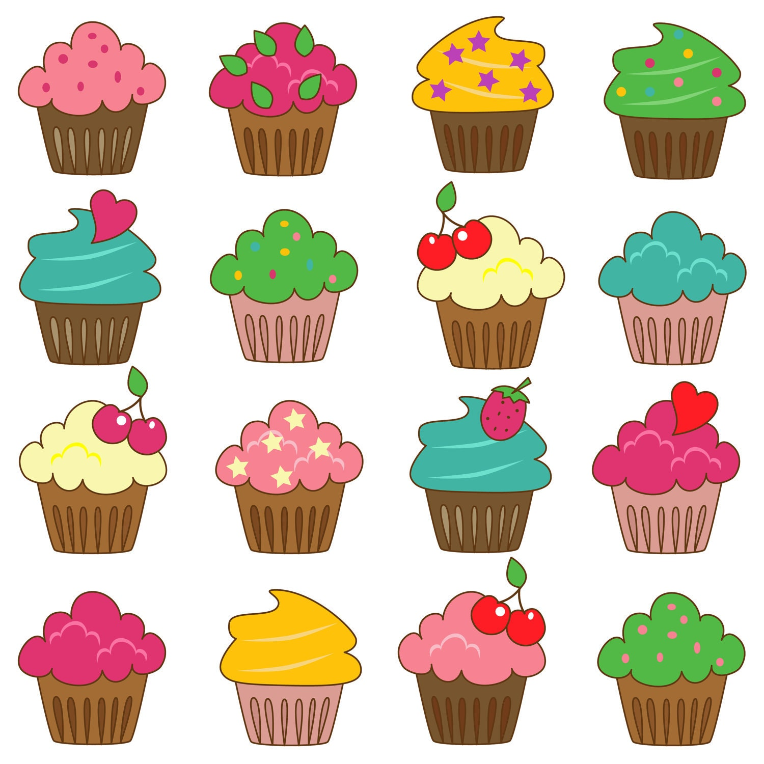 Cupcakes Clip Art Clipart Commercial and Personal by ...