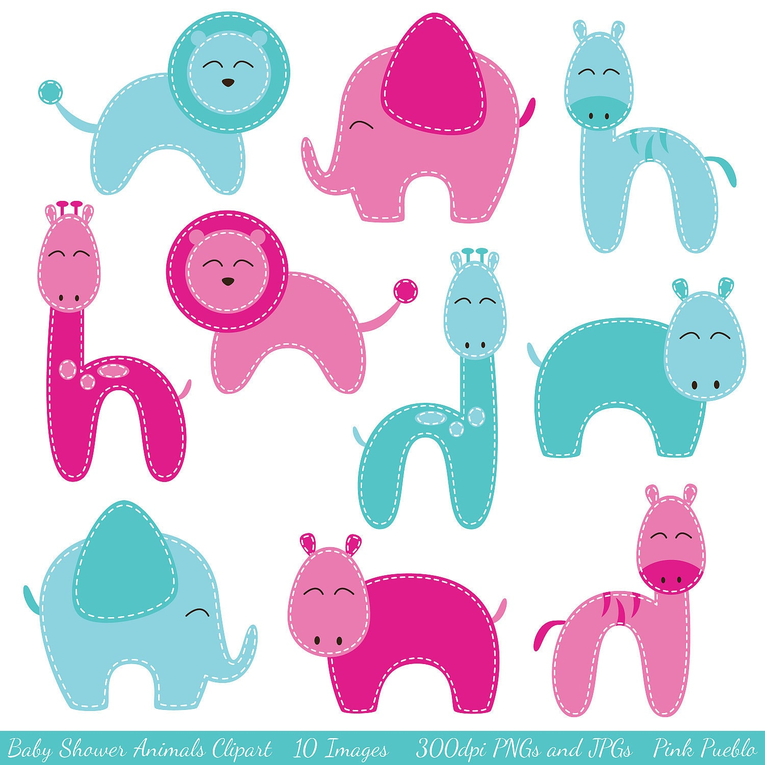 Baby shower animals clipart clip art zoo animals by pinkpueblo