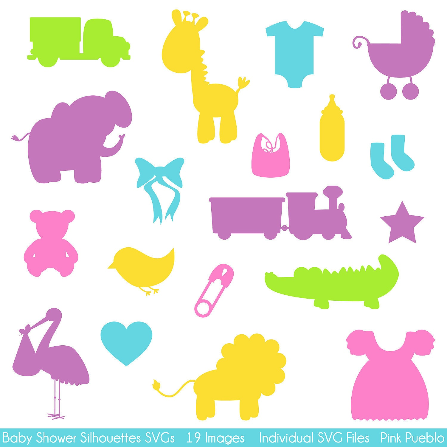 Baby shower silhouettes svgs baby shower cutting templates for Baby shower decoration templates