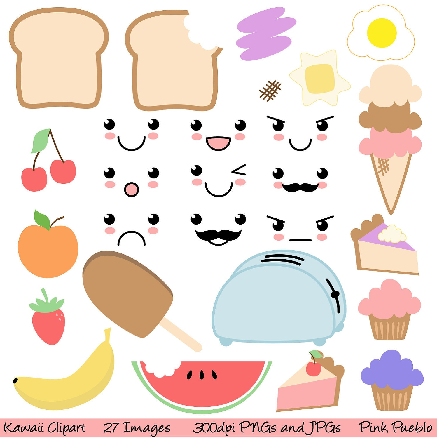 Kawaii Food Clipart Clip Art Commercial and Personal Use