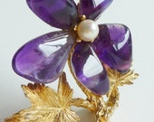 Swoboda Purple Amethyst and Pearl Gold Flower Brooch Pin