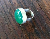Sterling Silver Ring Cocktail Chalcedony Stone Ring, handmade silver ring, green ring