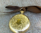 Solid Perfume in a Vintage Gold Pocket Watch all natural, tangerine, vanilla, bergamot, vintage compact, handmade perfume