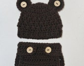 SALE - Crocheted Teddy Bear Baby Hat and Diaper Cover (Size0-3,  3-6, 6-12 months)  Photo Prop