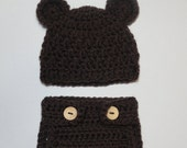 SALE - Crocheted Teddy Bear Baby Hat and Diaper Cover (Size 0-3, 3-6,  6-12 months) Photo Prop (Available in Different Color)