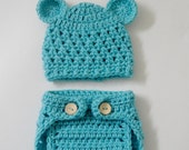 SALE - Crocheted Teddy Bear Baby Hat and Diaper Cover in turquoise Blue (size 3-6, 6-12ms) -  Photo Prop (Available in Different Color)