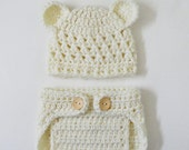 Crocheted Newborn Teddy Bear Baby Hat and Diaper Cover in Soft Cream-  Photo Prop