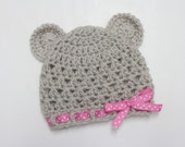 Crocheted Baby Teddy Bear Beanie in Linen with Pink and White Ribbon (size0-3, 3-6, 6-9, 9-12months)