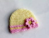 SALE - Crocheted Baby Beanie with Shell Edge and Flower
