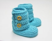 Crocheted Baby Ankle Booties in Turquoise (size 0-3, 3-6, 6-9, 9-12 months)