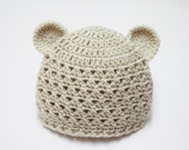 Sale- Crochet Teddy Bear Hat  in Off Whie ( Size 0-3M, 3-6M, 6-12M) Available in Different Color