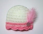 SALE - Crocheted Baby Beanie with Shell Edge and Feathers