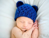 Sale- Crochet Teddy Bear Hat  in  Sapphire Blue ( Size 0-3M, 3-6M, 6-12M) Available in Different Color