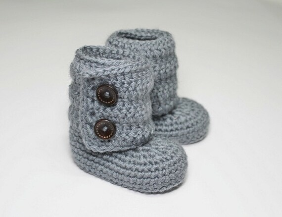 Crocheted Baby Ankle Booties, Ugg Boots  in Gray (size 0-3, 3-6, 6-9, 9-12 months)