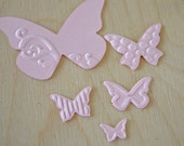 Pastel Pink Die-Cut Textured Butterfly Set  ( 3 - D appearance)