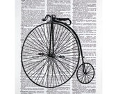 Vintage Bicycle Print on an Antique Book Page
